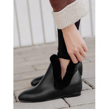 Flat Heel Square Toe Ankle Boots - BLACK 38