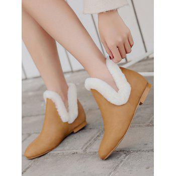 Flat Heel Square Toe Ankle Boots - LIGHT BROWN 37