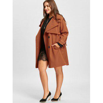 Double Breasted Plus Size Long Coat - SUGAR HONEY 4XL
