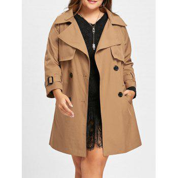 Double Breasted Plus Size Long Coat - KHAKI KHAKI