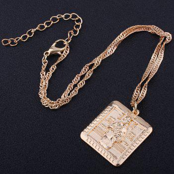 Alloy Geometric Engraved Jesus Pendant Necklace -  GOLDEN