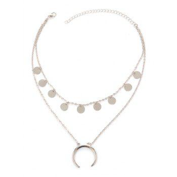 Tribal Moon Disc Layered Necklace - SILVER SILVER