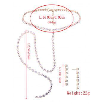 Alloy Rhinestone Necklace and Earring Set -  GOLDEN