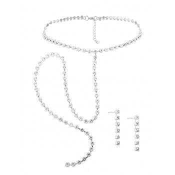 Alloy Rhinestone Necklace and Earring Set - SILVER SILVER