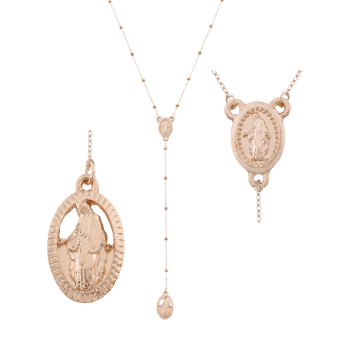 Oval Engraved Goddess Pendant Necklace - GOLDEN