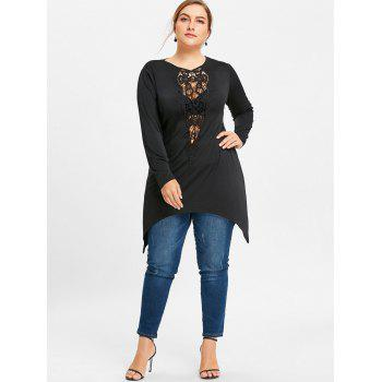 Floral Lace Insert Asymmetrical Plus Size T-shirt - BLACK XL