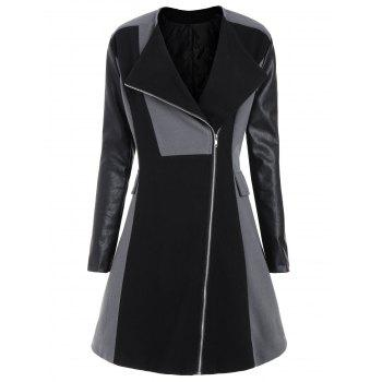 Plus Size Color Block Faux Leather Sleeve Coat