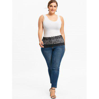Plus Size Lace Extender Sheer Skirt - BLACK BLACK