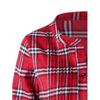 Plus Size Plaid Pintuck Longline Shirt - RED RED