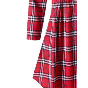 Plus Size Plaid Pintuck Longline Shirt - RED 4XL