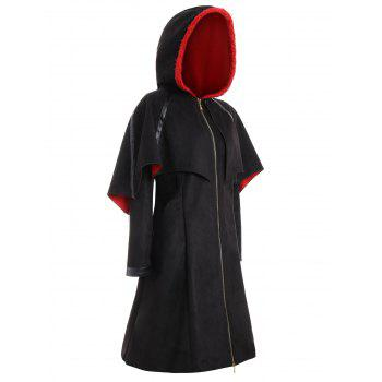 Plus Size Faux Suede Long Hooded Bat Coat - BLACK BLACK