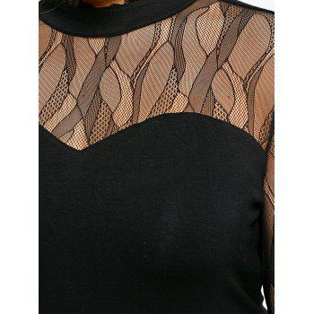 Plus Size See Thru Mock Neck Top - BLACK XL