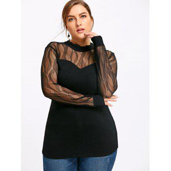 Plus Size See Thru Mock Neck Top - BLACK BLACK