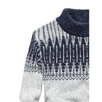 Mock Neck Jacquard Color Block Sweater - STONE BLUE XL