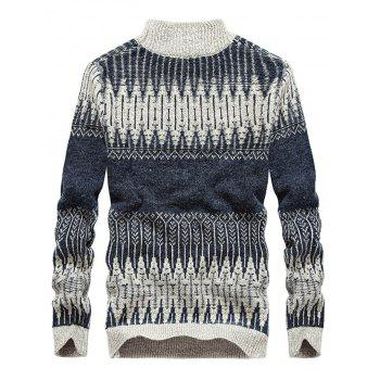 Mock Neck Jacquard Color Block Sweater - DEEP BLUE XL