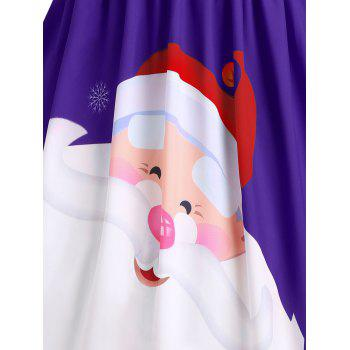 Christmas Lace Insert Santa Claus Print Party Dress - PURPLE L