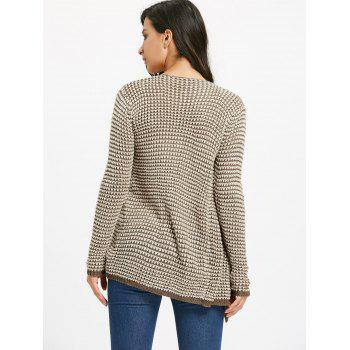 Casual Collarless Knitted Long Sleeve Cardigan For Women - KHAKI M