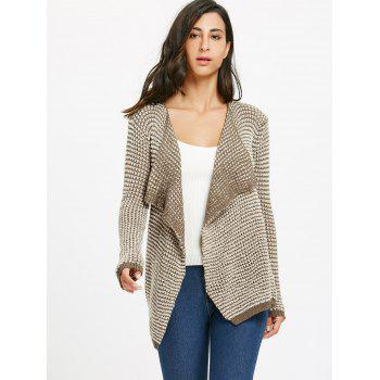 Casual Collarless Knitted Long Sleeve Cardigan For Women - KHAKI L