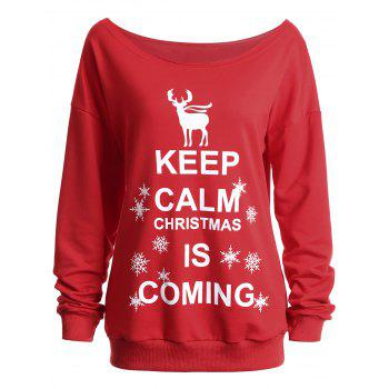 Keep Calm Skew Neck Sweatshirt de Noël - Rouge L