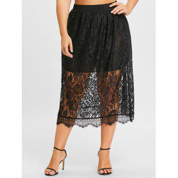 Lace Plus Size Midi Skirt - BLACK BLACK