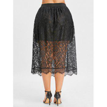 Lace Plus Size Midi Skirt - BLACK 2XL