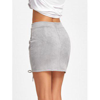 Faux Suede Lace Up Mini Skirt - GRAY M