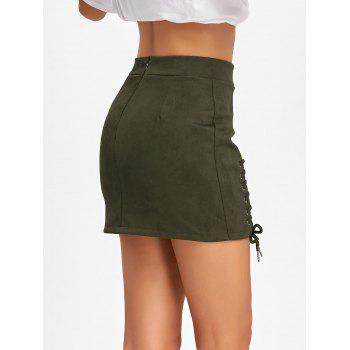 Faux Suede Lace Up Mini Skirt - ARMY GREEN L