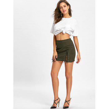 Faux Suede Lace Up Mini Skirt - ARMY GREEN M