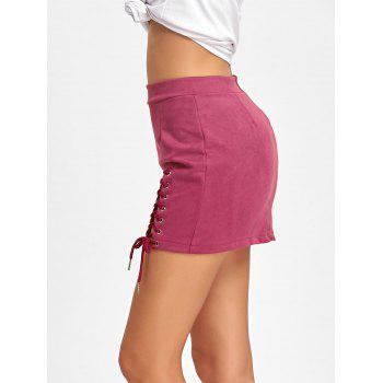 Faux Suede Lace Up Mini Skirt - PEACH RED PEACH RED