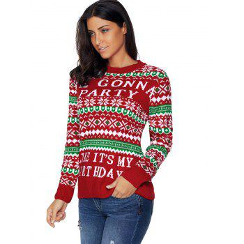 Christmas Letter and Snowflake Jacquard Sweater - RED XL