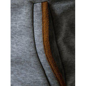 Suede Panel Elbow Patch Button Up Hoodie - LIGHT GRAY XL