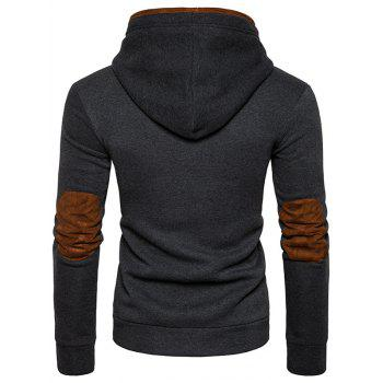 Suede Panel Elbow Patch Button Up Hoodie - DEEP GRAY S