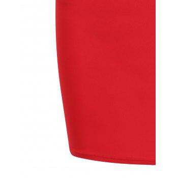 Short Mesh Insert Sleeveless Fitted Dress - RED ONE SIZE