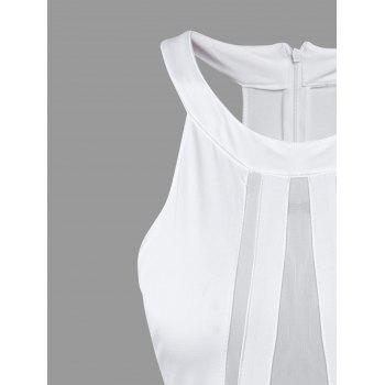 Short Mesh Insert Sleeveless Fitted Dress - WHITE ONE SIZE