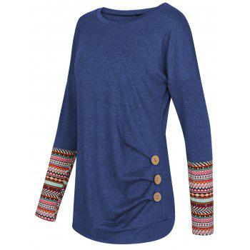 Geometric Button Embellished Drop Shoulder T-shirt - BLUE L
