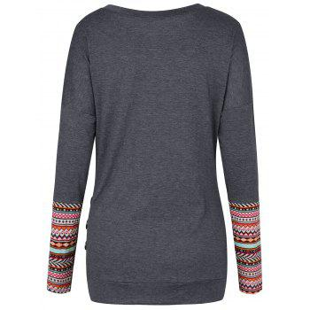 Geometric Button Embellished Drop Shoulder T-shirt - DEEP GRAY M