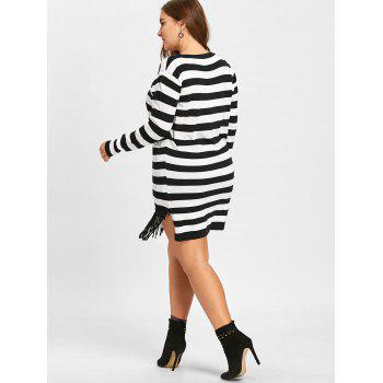Striped Plus Size Pocket Fringe Sweater - BLACK STRIPE XL