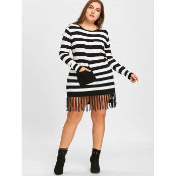 Striped Plus Size Pocket Fringe Sweater - BLACK STRIPE 2XL