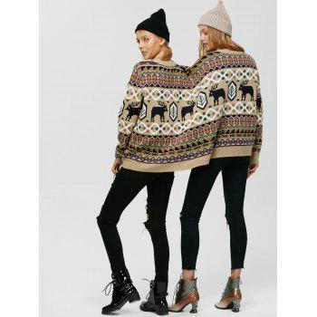 Two Person Reindeer Print Christmas Sweater - COLORMIX ONE SIZE