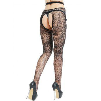 Cut Out See Thru Lingerie Tights - BLACK ONE SIZE