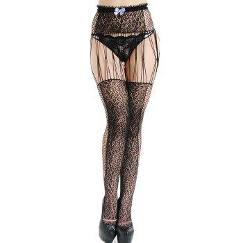 Fishnet High Waisted Suspender Cut Out Tights - BLACK ONE SIZE