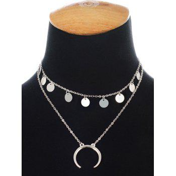 Collier Tribal Moon Disc Layered - SILVER