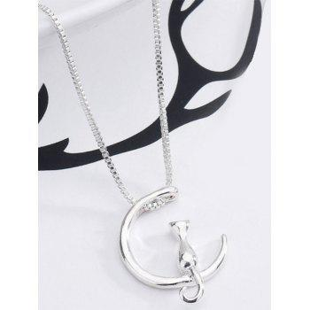 Moon Kitten Collarbone Pendant Necklace - SILVER SILVER