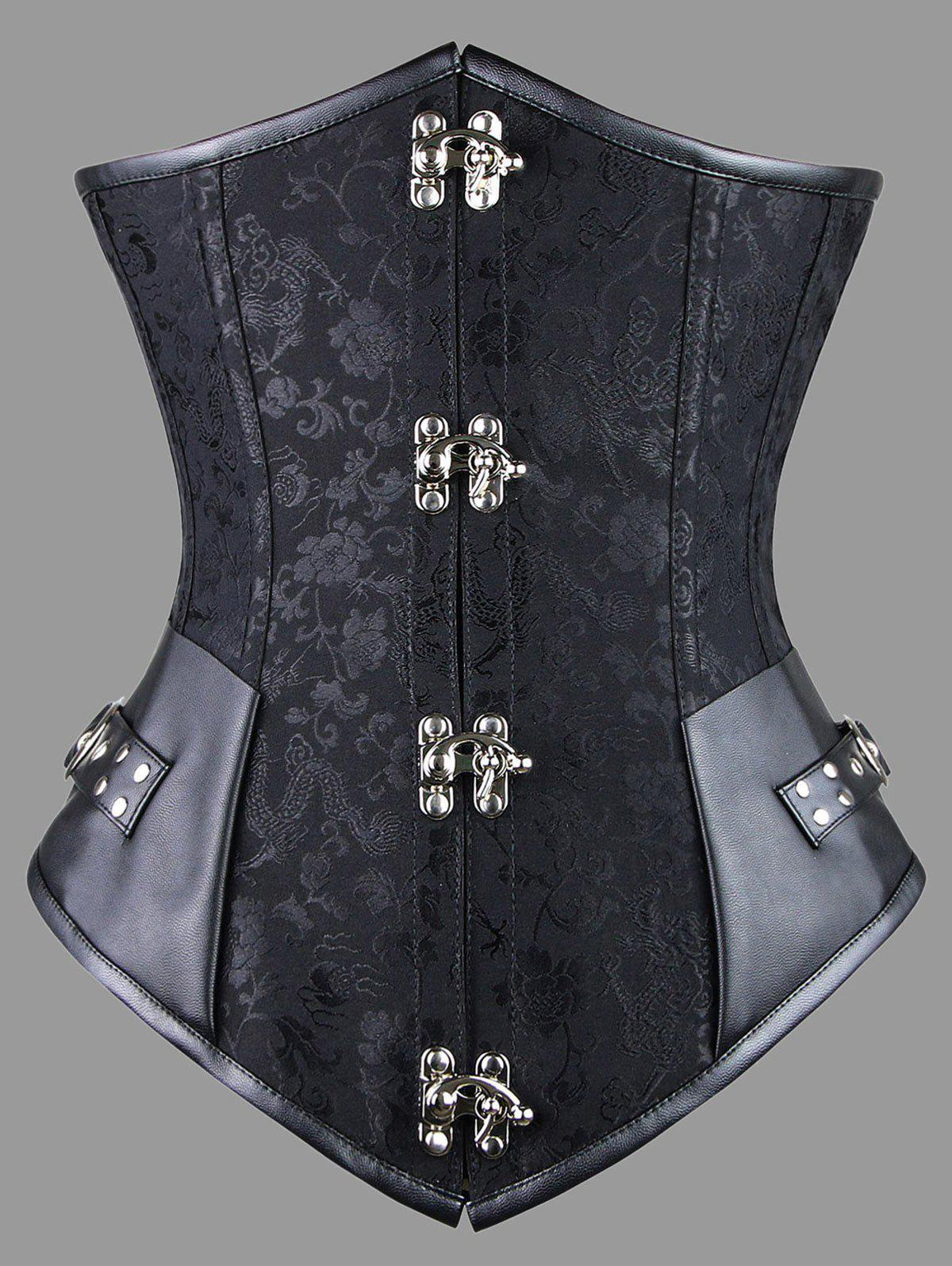 Plus Size Faux Leather Panel Lace-up Corset - BLACK 5XL