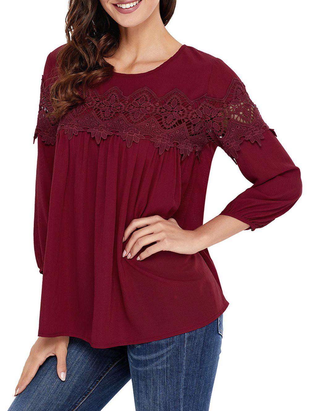Crochet Lace Insert High Low Blouse - WINE RED 2XL
