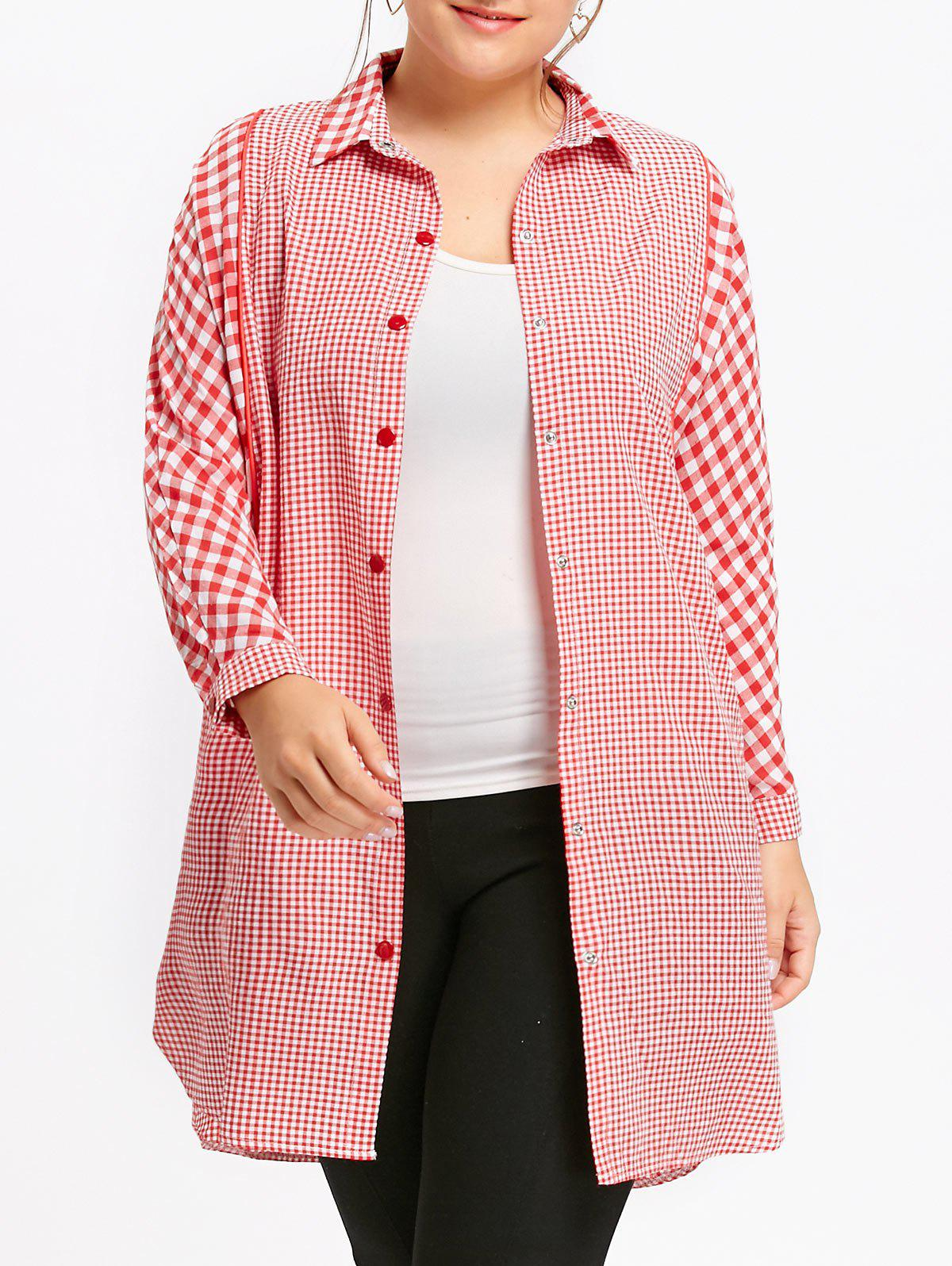 Plus Size Long Plaid Tunic Shirt - RED 2XL