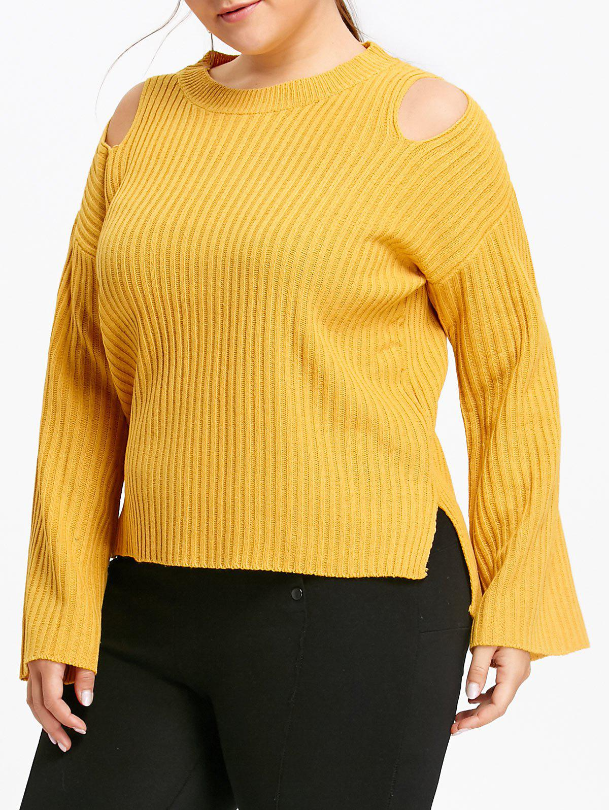 2017 Plus Size Ribbed Cold Shoulder Sweater YELLOW XL In Plus Size ...