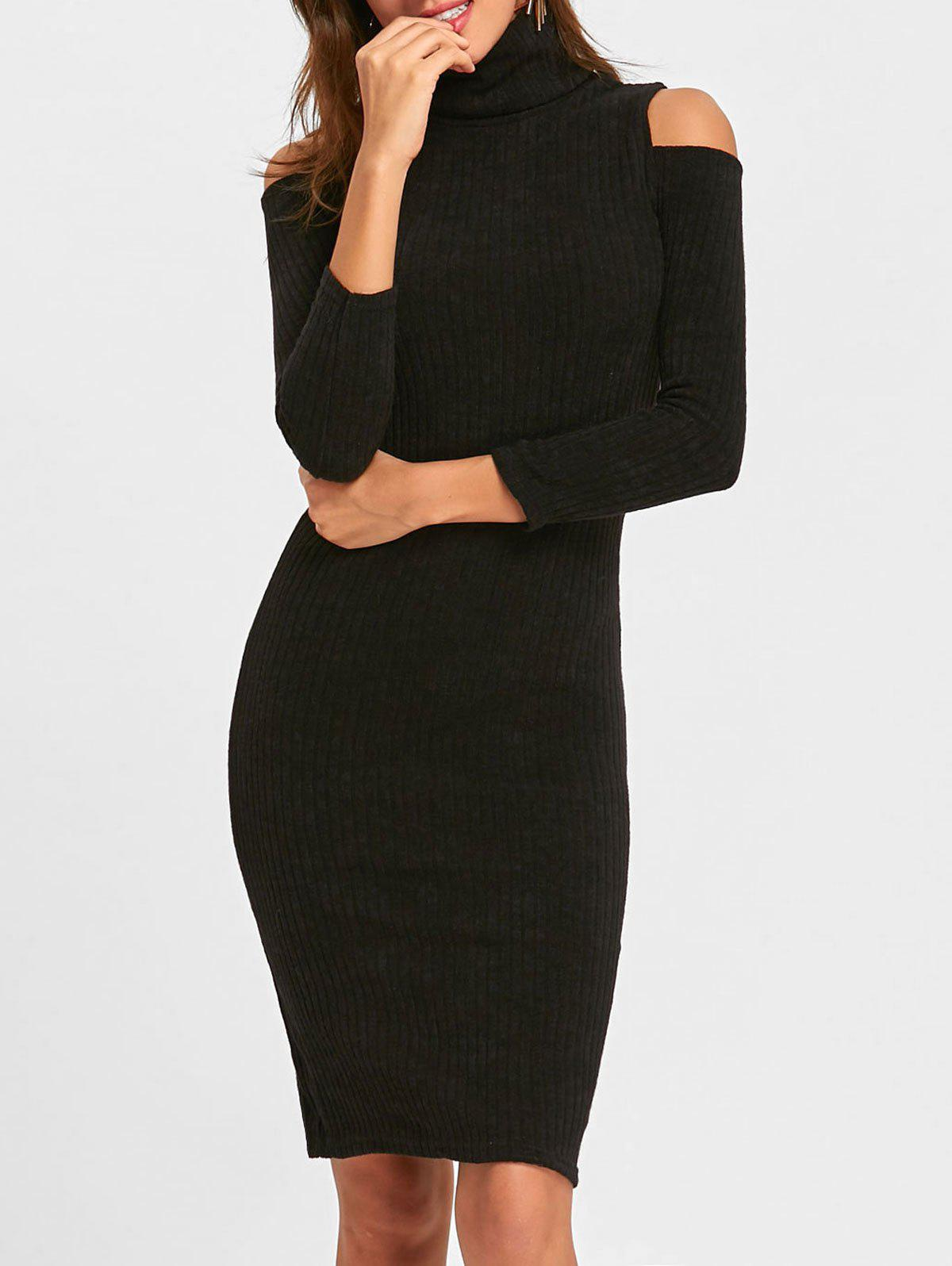 Midi Cold Shoulder Bodycon Sweater Dress - BLACK L