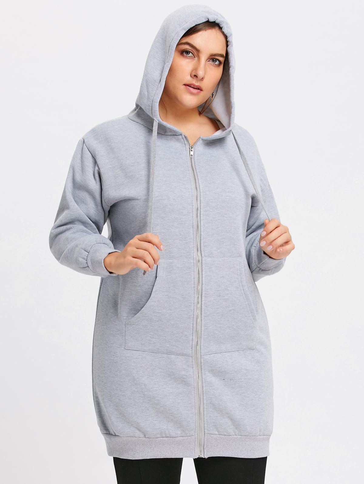Plus Size Hooded Long Coat with Front Pocket pocket front fuzzy sweater coat