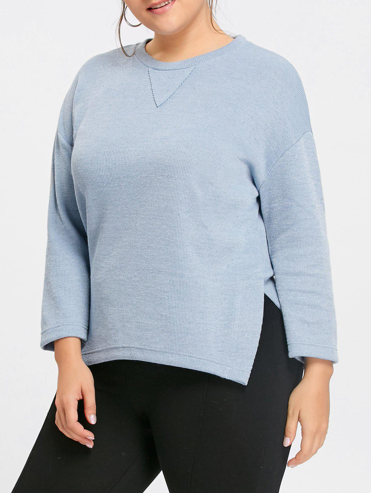 Plus Size Side Slit Drop Shoulder  Sweater - BLUE 4XL